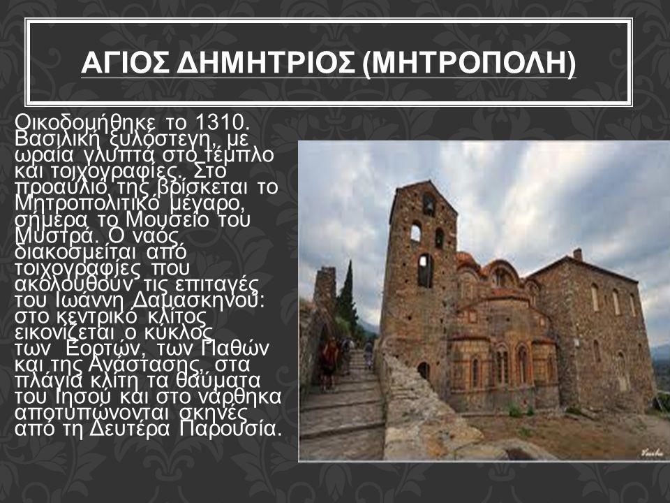 ΑΓΙΟΣ ΔΗΜΗΤΡΙΟΣ (ΜΗΤΡΟΠΟΛΗ) Οικοδομήθηκε το 1310. Βασιλική ξυλόστεγη, με ωραία γλυπτά στο τέμπλο και τοιχογραφίες. Στο προαύλιό της βρίσκεται το Μητρο