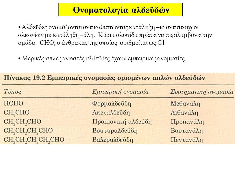 Ονοματολογία αλδεϋδών Αλδεϋδες ονομάζονται αντικαθιστώντας κατάληξη –ιο αντίστοιχων αλκανίων με κατάληξη –άλη. Κύρια αλυσίδα πρέπει να περιλαμβάνει τη