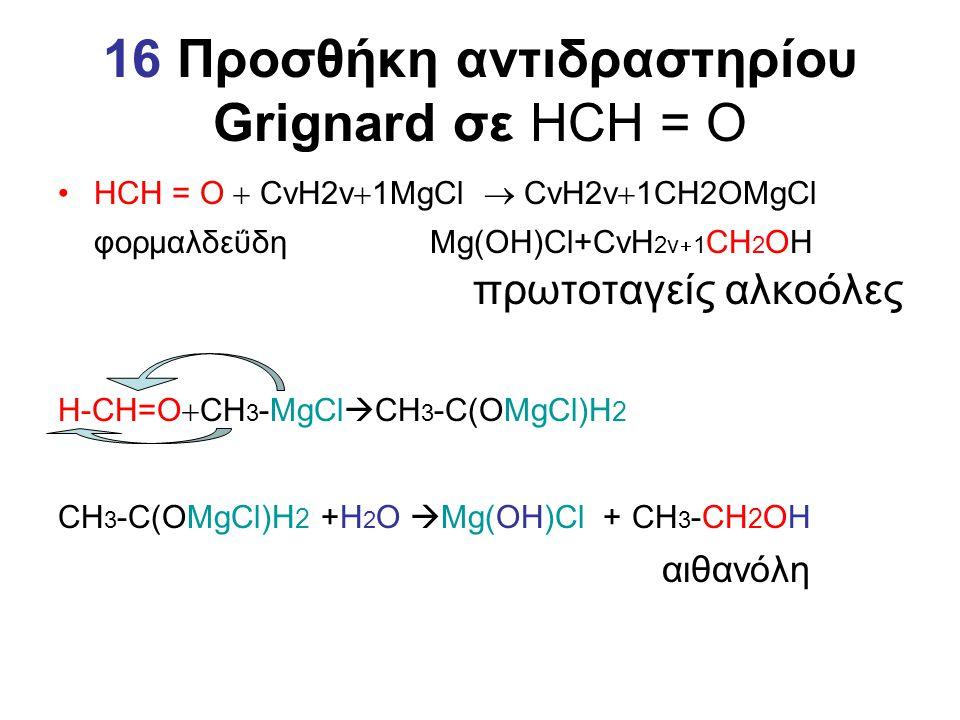 16 Προσθήκη αντιδραστηρίου Grignard σε HCH = O HCH = O  CνΗ2ν  1MgCl  CvH2v  1CH2ΟΜgCl φορμαλδεΰδη Μg(ΟΗ)Cl+CvH 2v  1 CH 2 ΟΗ πρωτοταγείς αλκοόλε