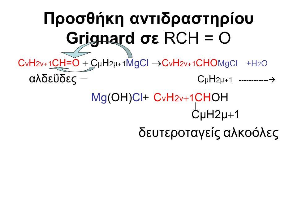 Προσθήκη αντιδραστηρίου Grignard σε RCH = O C v H 2v  1 CH=O  C μ Η 2μ  1 MgCl  C v H 2v  1 CHΟ ΜgCl +H 2 O αλδεΰδες  C μ H 2μ  1 ------------