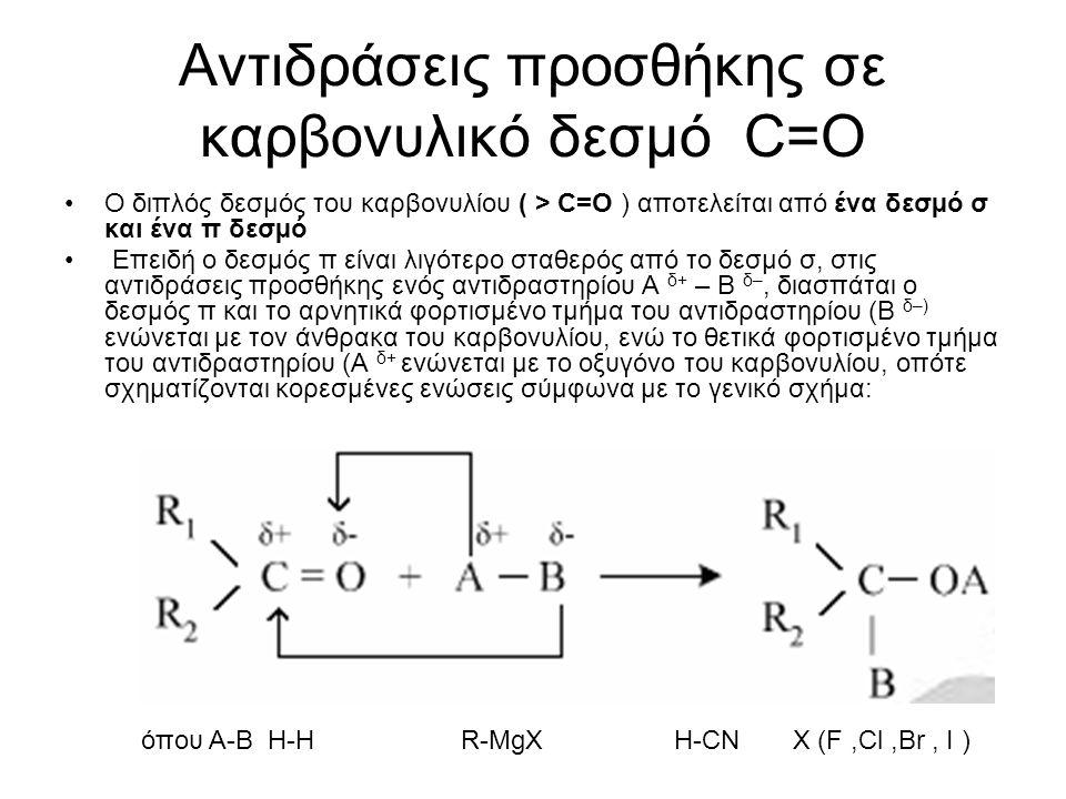 14 Αντιδράσεις προσθήκης σε καρβονυλικό δεσμό C=O Προσθήκη υδρογόνου C v H 2v O  H 2  C v H 2v+ 1 OH Προσθήκη υδρογόνου σε αλδεύδη σχηματίζεται πρωτοταγή αλκοόλη ΗCH=O  H 2  Η - CH 2- OH CΗ 3 -CH=O  H 2  CΗ 3- CH 2- OH CΗ 3 -CΗ 2 -CH=O  H 2  CΗ 3- CΗ 2 -CH 2- OH