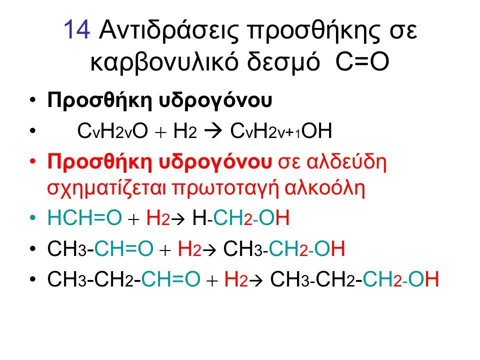 14 Αντιδράσεις προσθήκης σε καρβονυλικό δεσμό C=O Προσθήκη υδρογόνου C v H 2v O  H 2  C v H 2v+ 1 OH Προσθήκη υδρογόνου σε αλδεύδη σχηματίζεται πρωτ