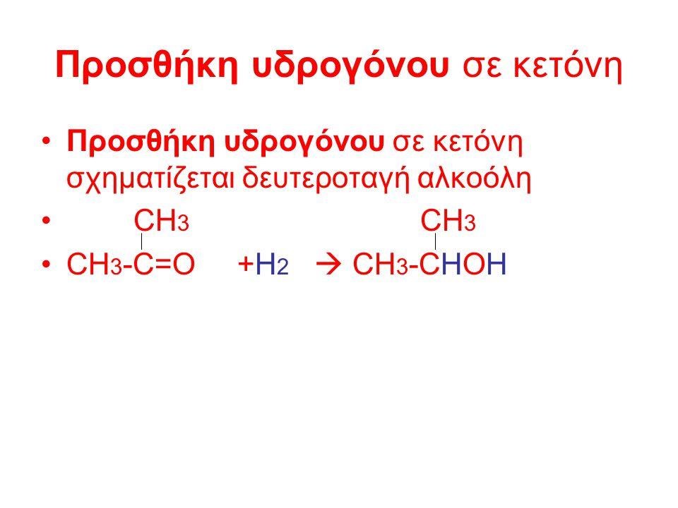 Η αντίδραση προσθήκης µε το H2 γίνεται παρουσία καταλύτη (Ni, Pd, Pt) και ονοµάζεται υδρογόνωση.