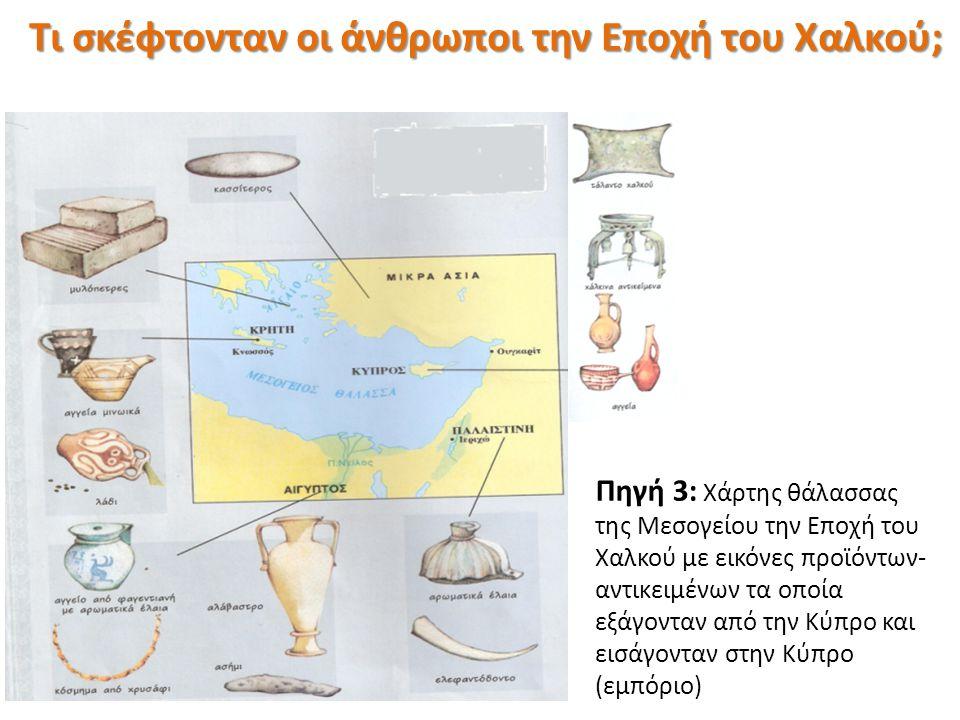 Πηγή 3: Χάρτης θάλασσας της Μεσογείου την Εποχή του Χαλκού με εικόνες προϊόντων- αντικειμένων τα οποία εξάγονταν από την Κύπρο και εισάγονταν στην Κύπ