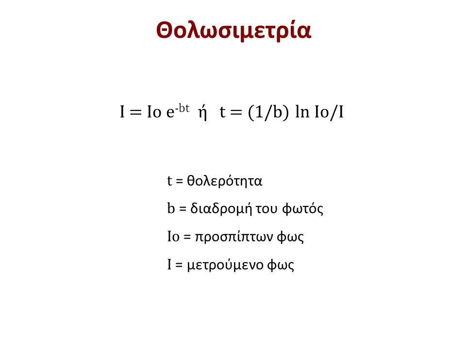 t = θολερότητα b = διαδρομή του φωτός Io = προσπίπτων φως Ι = μετρούμενο φως I = Io e -bt ή t = (1/b) ln Io/I Θολωσιμετρία