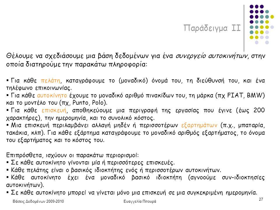 Βάσεις Δεδομένων 2009-2010Ευαγγελία Πιτουρά 27 Παράδειγμα ΙI Θέλουμε να σχεδιάσουμε μια βάση δεδομένων για ένα συνεργείο αυτοκινήτων, στην οποία διατηρούμε την παρακάτω πληροφορία:  Για κάθε πελάτη, καταγράφουμε το (μοναδικό) όνομά του, τη διεύθυνσή του, και ένα τηλέφωνο επικοινωνίας.