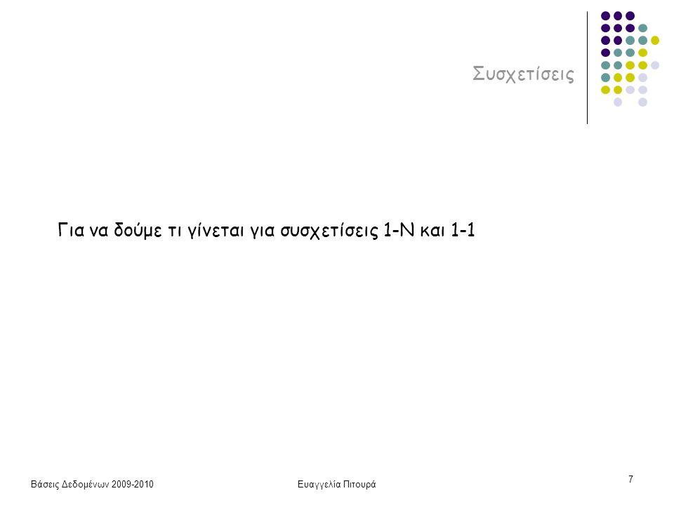 Βάσεις Δεδομένων 2009-2010Ευαγγελία Πιτουρά 7 Συσχετίσεις Για να δούμε τι γίνεται για συσχετίσεις 1-N και 1-1