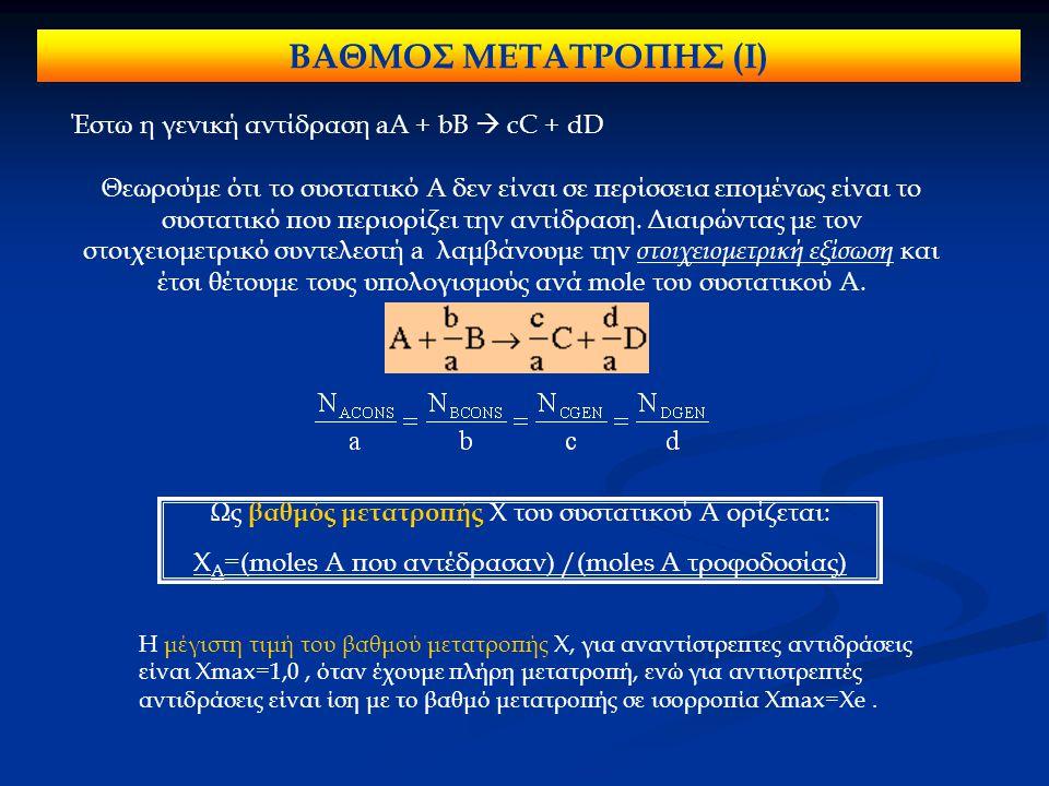Έστω η γενική αντίδραση aA + bB  cC + dD Θεωρούμε ότι το συστατικό Α δεν είναι σε περίσσεια επομένως είναι το συστατικό που περιορίζει την αντίδραση.