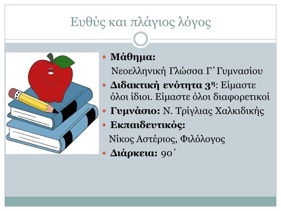 Ευθύς και πλάγιος λόγος Μάθημα: Νεοελληνική Γλώσσα Γ΄Γυμνασίου Διδακτική ενότητα 3 η : Είμαστε όλοι ίδιοι. Είμαστε όλοι διαφορετικοί Γυμνάσιο: Ν. Τρίγ