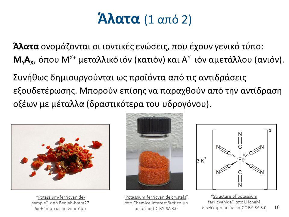 Άλατα (1 από 2) Άλατα ονομάζονται οι ιοντικές ενώσεις, που έχουν γενικό τύπο: Μ Υ Α Χ, όπου Μ Χ+ μεταλλικό ιόν (κατιόν) και Α Y- ιόν αμετάλλου (ανιόν).