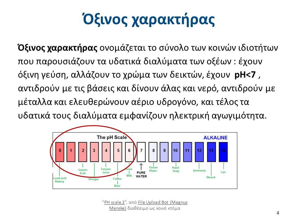 Όξινος χαρακτήρας Όξινος χαρακτήρας ονομάζεται το σύνολο των κοινών ιδιοτήτων που παρουσιάζουν τα υδατικά διαλύματα των οξέων : έχουν όξινη γεύση, αλλάζουν το χρώμα των δεικτών, έχουν pH<7, αντιδρούν με τις βάσεις και δίνουν άλας και νερό, αντιδρούν με μέταλλα και ελευθερώνουν αέριο υδρογόνο, και τέλος τα υδατικά τους διαλύματα εμφανίζουν ηλεκτρική αγωγιμότητα.