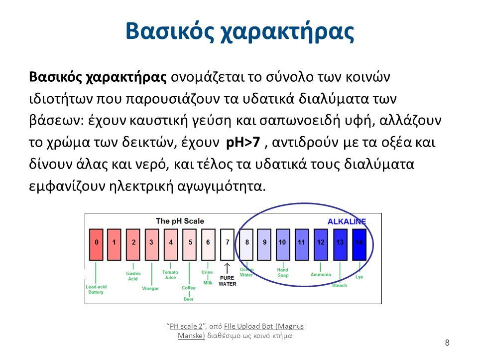 Βασικός χαρακτήρας Βασικός χαρακτήρας ονομάζεται το σύνολο των κοινών ιδιοτήτων που παρουσιάζουν τα υδατικά διαλύματα των βάσεων: έχουν καυστική γεύση και σαπωνοειδή υφή, αλλάζουν το χρώμα των δεικτών, έχουν pH>7, αντιδρούν με τα οξέα και δίνουν άλας και νερό, και τέλος τα υδατικά τους διαλύματα εμφανίζουν ηλεκτρική αγωγιμότητα.