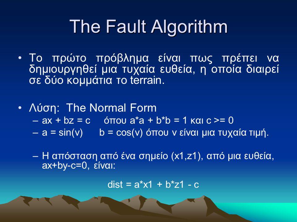 The Fault Algorithm Το πρώτο πρόβλημα είναι πως πρέπει να δημιουργηθεί μια τυχαία ευθεία, η οποία διαιρεί σε δύο κομμάτια το terrain.