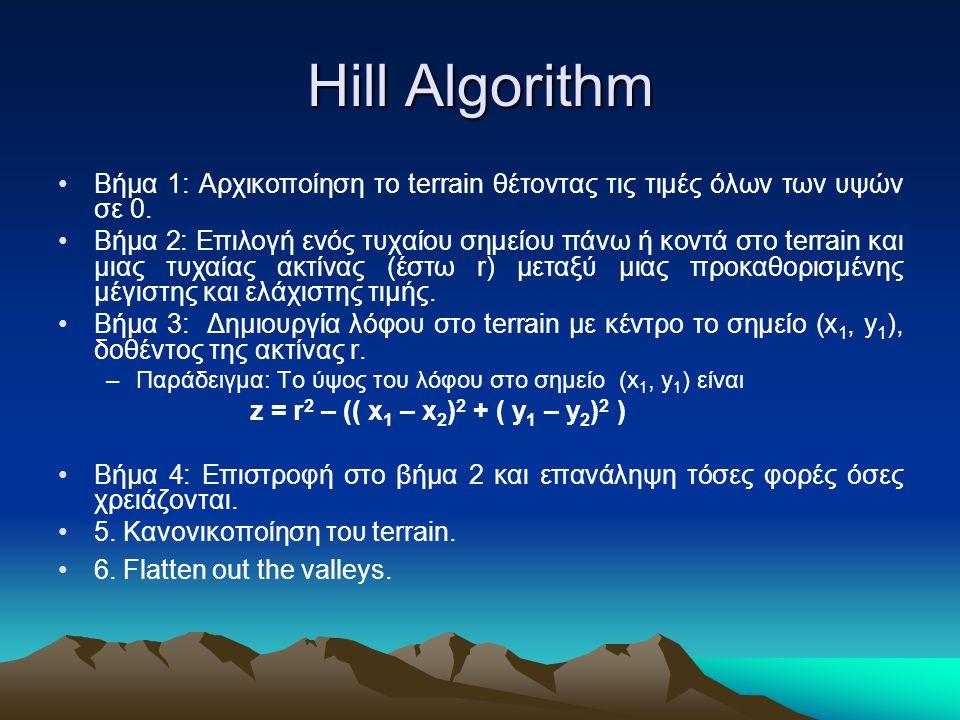 Hill Algorithm Βήμα 1: Αρχικοποίηση το terrain θέτοντας τις τιμές όλων των υψών σε 0. Βήμα 2: Επιλογή ενός τυχαίου σημείου πάνω ή κοντά στο terrain κα