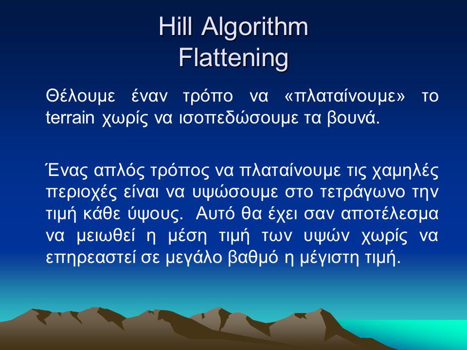 Hill Algorithm Flattening Θέλουμε έναν τρόπο να «πλαταίνουμε» το terrain χωρίς να ισοπεδώσουμε τα βουνά. Ένας απλός τρόπος να πλαταίνουμε τις χαμηλές