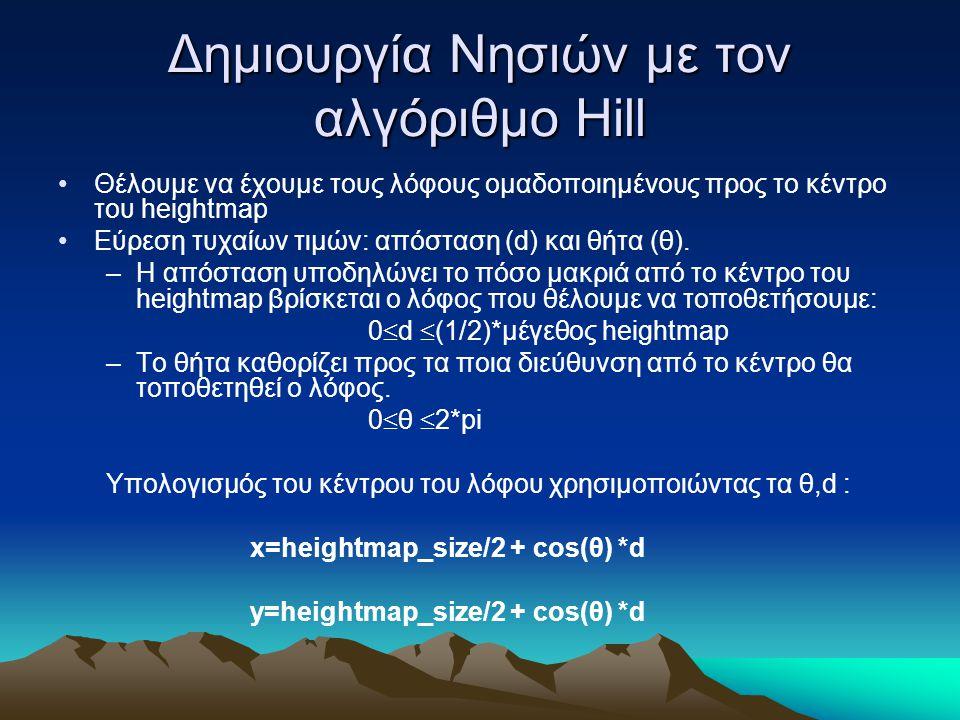 Δημιουργία Νησιών με τον αλγόριθμο Hill Θέλουμε να έχουμε τους λόφους ομαδοποιημένους προς το κέντρο του heightmap Εύρεση τυχαίων τιμών: απόσταση (d) και θήτα (θ).
