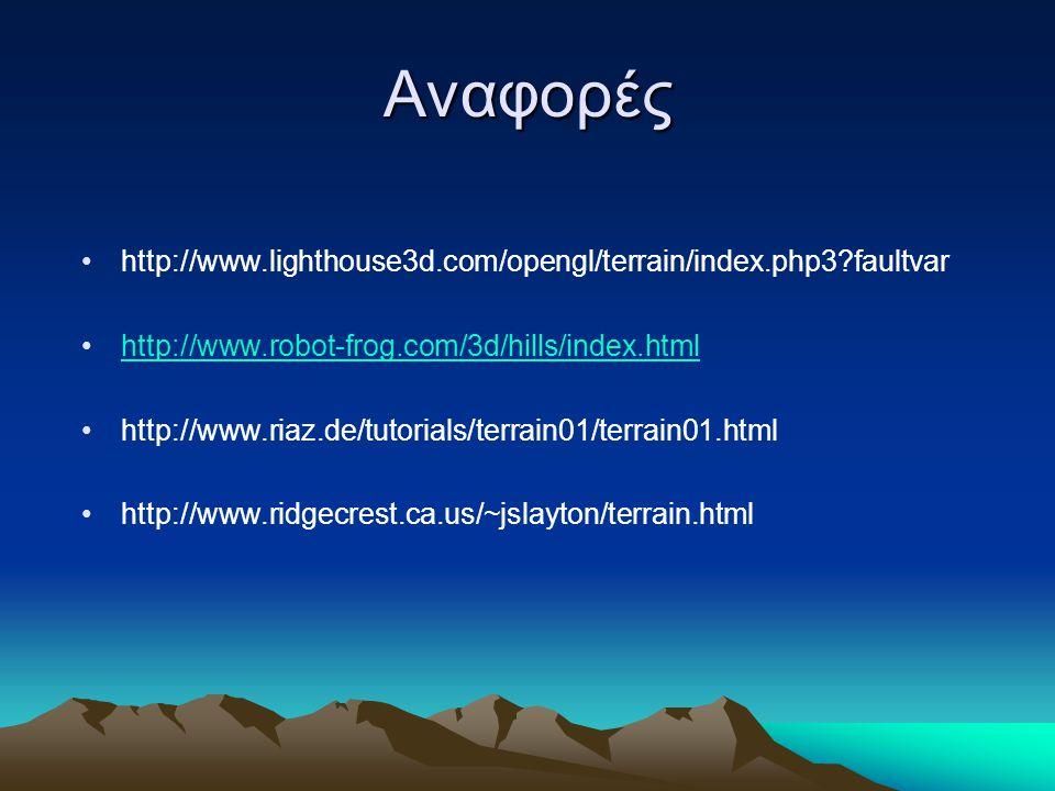 Αναφορές http://www.lighthouse3d.com/opengl/terrain/index.php3 faultvar http://www.robot-frog.com/3d/hills/index.html http://www.riaz.de/tutorials/terrain01/terrain01.html http://www.ridgecrest.ca.us/~jslayton/terrain.html