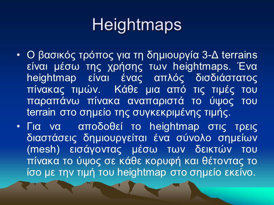 Heightmaps Ο βασικός τρόπος για τη δημιουργία 3-Δ terrains είναι μέσω της χρήσης των heightmaps. Ένα heightmap είναι ένας απλός δισδιάστατος πίνακας τ