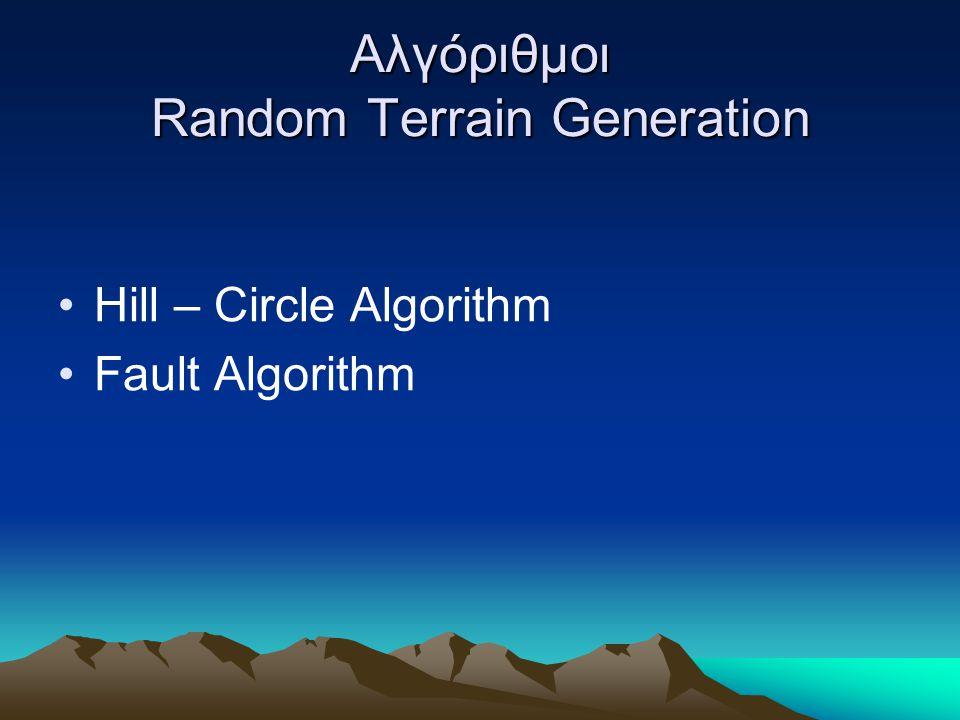 Αλγόριθμοι Random Terrain Generation Hill – Circle Algorithm Fault Algorithm