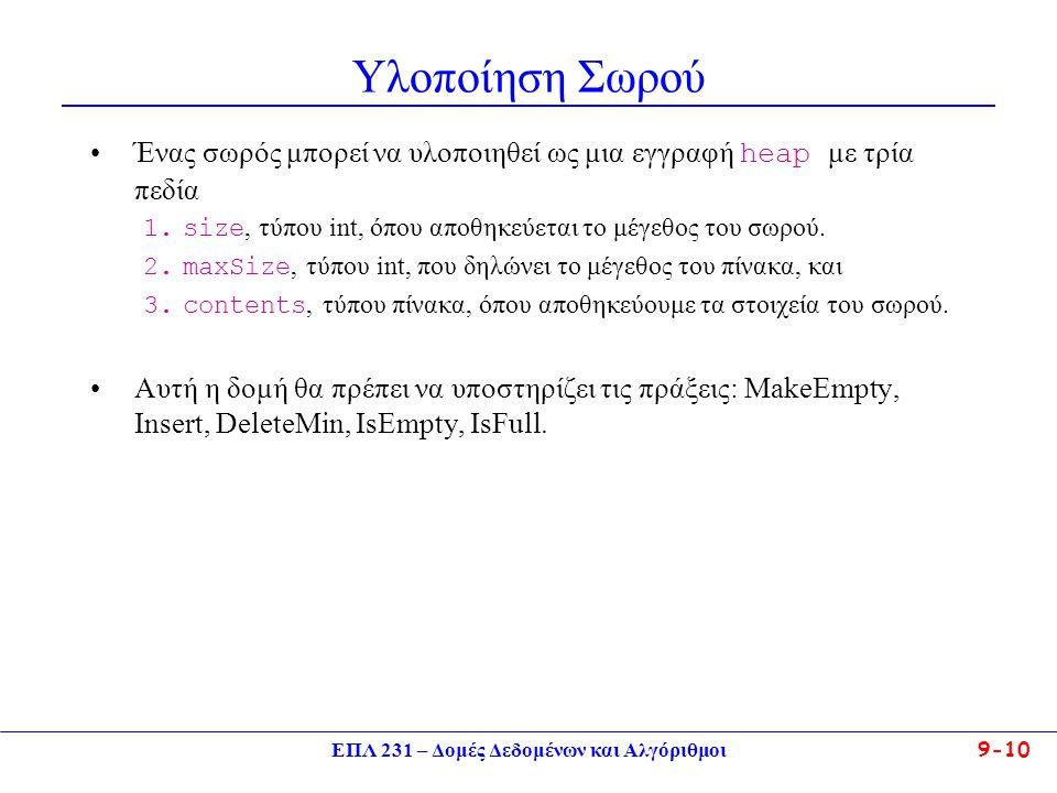 ΕΠΛ 231 – Δομές Δεδομένων και Αλγόριθμοι 9-10 Υλοποίηση Σωρού Ένας σωρός μπορεί να υλοποιηθεί ως μια εγγραφή heap με τρία πεδία 1.size, τύπου int, όπο