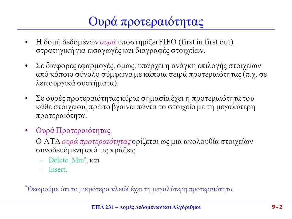 ΕΠΛ 231 – Δομές Δεδομένων και Αλγόριθμοι 9-2 Ουρά προτεραιότητας Η δομή δεδομένων ουρά υποστηρίζει FIFO (first in first out) στρατηγική για εισαγωγές