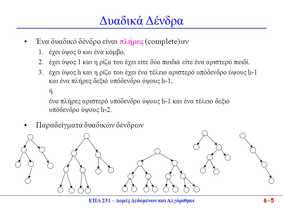 ΕΠΛ 231 – Δομές Δεδομένων και Αλγόριθμοι 6-5 Δυαδικά Δένδρα Ένα δυαδικό δένδρο είναι πλήρες (complete) αν 1.έχει ύψος 0 και ένα κόμβο, 2.έχει ύψος 1 κ