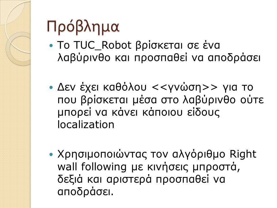 Πρόβλημα Το TUC_Robot βρίσκεται σε ένα λαβύρινθο και προσπαθεί να αποδράσει Δεν έχει καθόλου > για το που βρίσκεται μέσα στο λαβύρινθο ούτε μπορεί να κάνει κάποιου είδους localization Χρησιμοποιώντας τον αλγόριθμο Right wall following με κινήσεις μπροστά, δεξιά και αριστερά προσπαθεί να αποδράσει.
