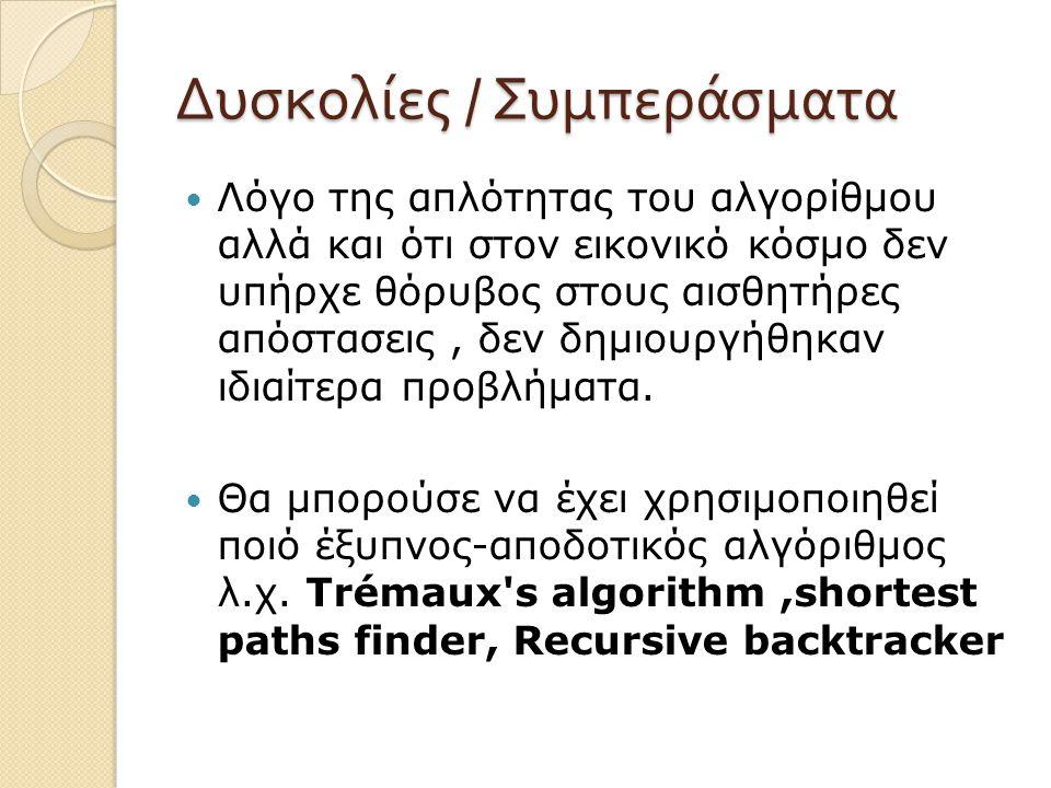 Δυσκολίες / Συμπεράσματα Λόγο της απλότητας του αλγορίθμου αλλά και ότι στον εικονικό κόσμο δεν υπήρχε θόρυβος στους αισθητήρες απόστασεις, δεν δημιου