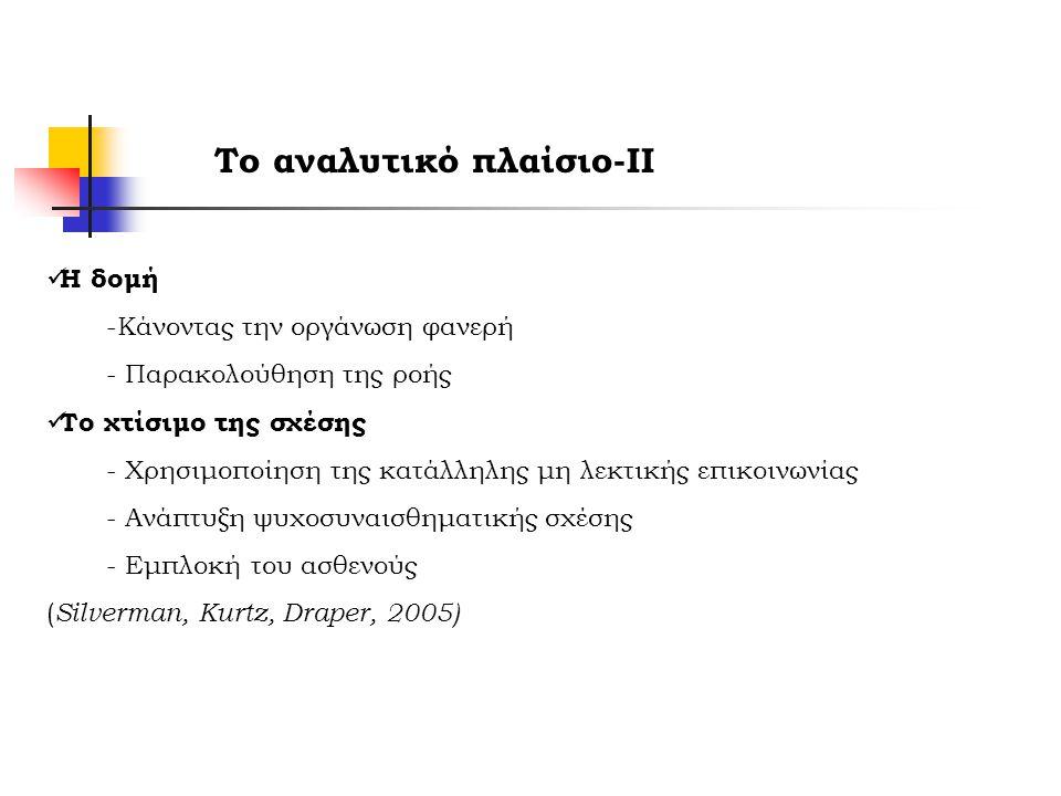 Το αναλυτικό πλαίσιο-ΙΙ Η δομή -Κάνοντας την οργάνωση φανερή - Παρακολούθηση της ροής Το χτίσιμο της σχέσης - Χρησιμοποίηση της κατάλληλης μη λεκτικής επικοινωνίας - Ανάπτυξη ψυχοσυναισθηματικής σχέσης - Εμπλοκή του ασθενούς ( Silverman, Kurtz, Draper, 2005)