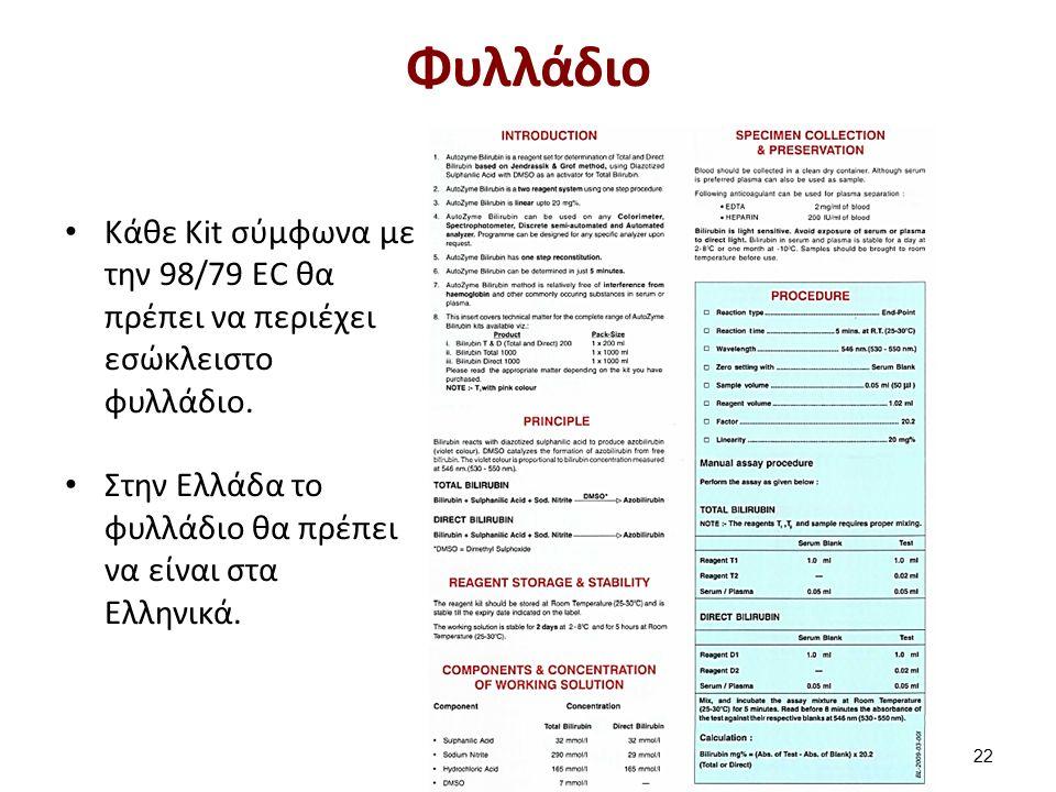 Κάθε Kit σύμφωνα με την 98/79 EC θα πρέπει να περιέχει εσώκλειστο φυλλάδιο. Στην Ελλάδα το φυλλάδιο θα πρέπει να είναι στα Ελληνικά. Φυλλάδιο 22