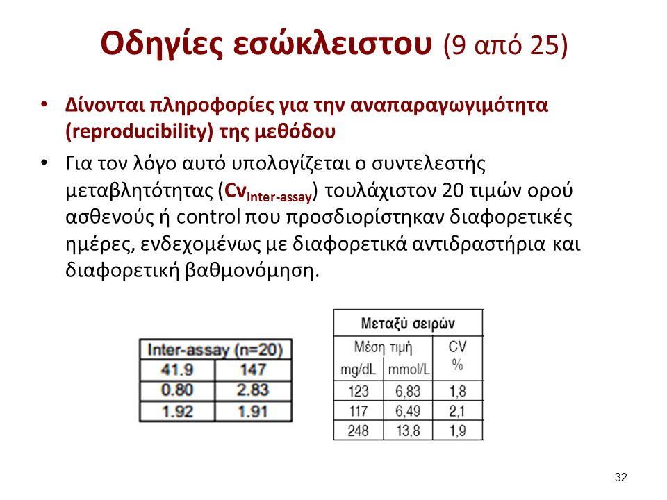 Οδηγίες εσώκλειστου (9 από 25) Δίνονται πληροφορίες για την αναπαραγωγιμότητα (reproducibility) της μεθόδου Για τον λόγο αυτό υπολογίζεται ο συντελεστής μεταβλητότητας (Cv inter-assay ) τουλάχιστον 20 τιμών ορού ασθενούς ή control που προσδιορίστηκαν διαφορετικές ημέρες, ενδεχομένως με διαφορετικά αντιδραστήρια και διαφορετική βαθμονόμηση.