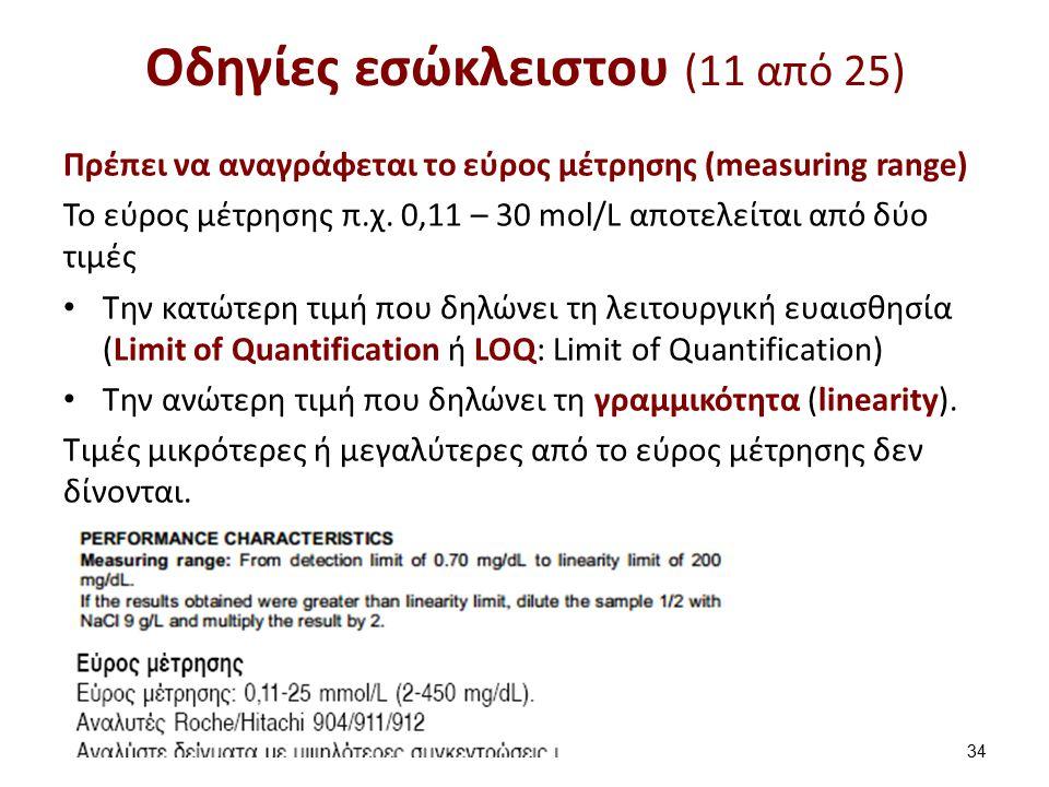 Οδηγίες εσώκλειστου (11 από 25) Πρέπει να αναγράφεται το εύρος μέτρησης (measuring range) To εύρος μέτρησης π.χ. 0,11 – 30 mol/L αποτελείται από δύο τ