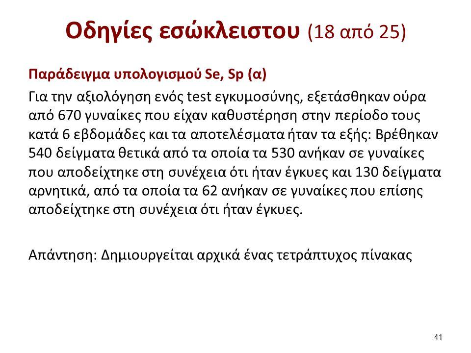 Οδηγίες εσώκλειστου (18 από 25) Παράδειγμα υπολογισμού Se, Sp (α) Για την αξιολόγηση ενός test εγκυμοσύνης, εξετάσθηκαν ούρα από 670 γυναίκες που είχα