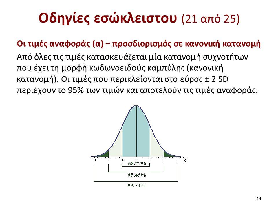 Οδηγίες εσώκλειστου (21 από 25) Oι τιμές αναφοράς (α) – προσδιορισμός σε κανονική κατανομή Από όλες τις τιμές κατασκευάζεται μία κατανομή συχνοτήτων που έχει τη μορφή κωδωνοειδούς καμπύλης (κανονική κατανομή).