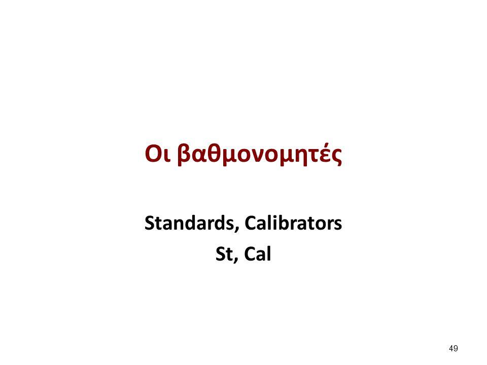 Οι βαθμονομητές Standards, Calibrators St, Cal 49