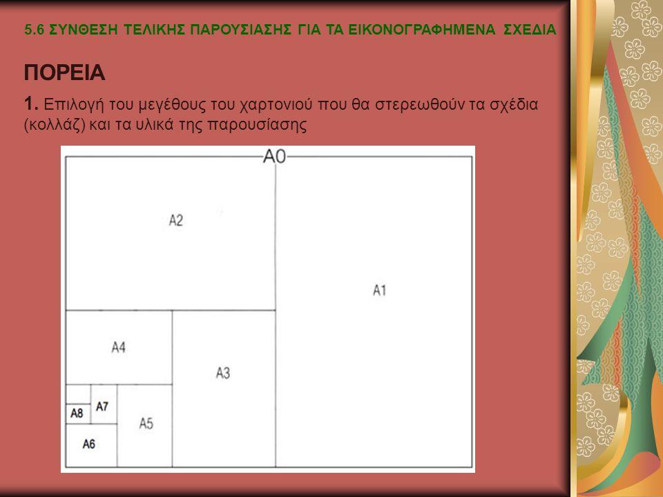 1. Επιλογή του μεγέθους του χαρτονιού που θα στερεωθούν τα σχέδια (κολλάζ) και τα υλικά της παρουσίασης ΠΟΡΕΙΑ 5.6 ΣΥΝΘΕΣΗ ΤΕΛΙΚΗΣ ΠΑΡΟΥΣΙΑΣΗΣ ΓΙΑ ΤΑ