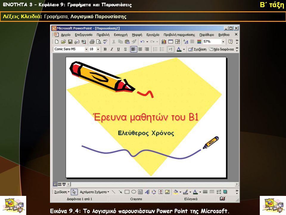 ΕΝΟΤΗΤΑ 3 – Κεφάλαιο 9: Γραφήματα και Παρουσιάσεις Λέξεις Κλειδιά: Γραφήματα, Λογισμικό Παρουσίασης Β΄ τάξη Εικόνα 9.4: Το λογισμικό παρουσιάσεων Powe