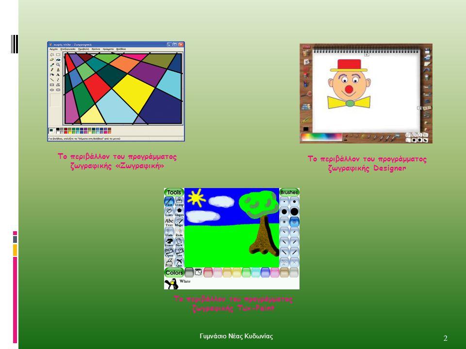 Το περιβάλλον του προγράμματος ζωγραφικής Designer Το περιβάλλον του προγράμματος ζωγραφικής Tux-Paint Το περιβάλλον του προγράμματος ζωγραφικής «Ζωγραφική» 2 Γυμνάσιο Νέας Κυδωνίας