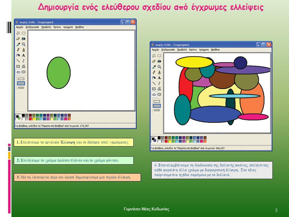 Δημιουργία ενός ελεύθερου σχεδίου από έγχρωμες ελλείψεις 5 4. Επαναλαμβάνουμε τη διαδικασία της διπλανής εικόνας, επιλέγοντας κάθε φορά ένα άλλο χρώμα