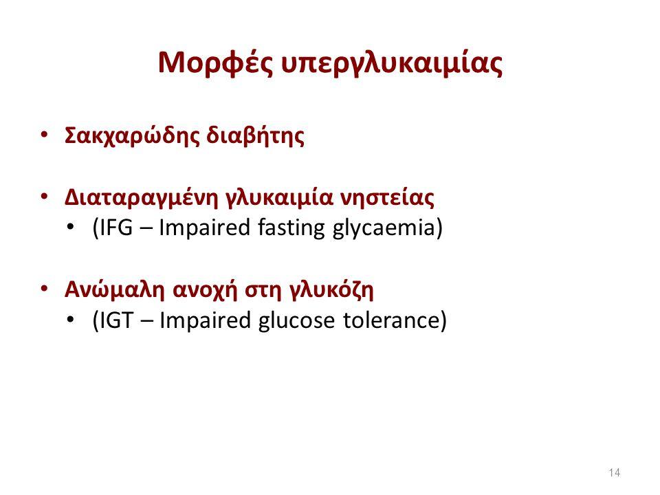 Μορφές υπεργλυκαιμίας Σακχαρώδης διαβήτης Διαταραγμένη γλυκαιμία νηστείας (IFG – Impaired fasting glycaemia) Ανώμαλη ανοχή στη γλυκόζη (IGT – Impaired glucose tolerance) 14