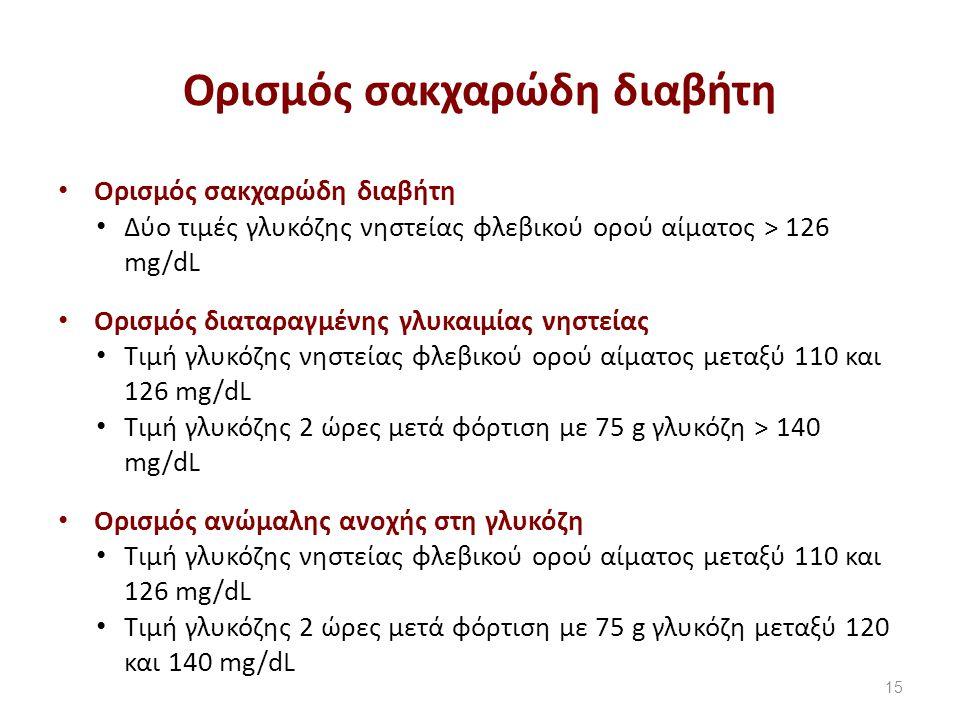 Ορισμός σακχαρώδη διαβήτη Δύο τιμές γλυκόζης νηστείας φλεβικού ορού αίματος > 126 mg/dL Ορισμός διαταραγμένης γλυκαιμίας νηστείας Τιμή γλυκόζης νηστείας φλεβικού ορού αίματος μεταξύ 110 και 126 mg/dL Τιμή γλυκόζης 2 ώρες μετά φόρτιση με 75 g γλυκόζη > 140 mg/dL Ορισμός ανώμαλης ανοχής στη γλυκόζη Τιμή γλυκόζης νηστείας φλεβικού ορού αίματος μεταξύ 110 και 126 mg/dL Τιμή γλυκόζης 2 ώρες μετά φόρτιση με 75 g γλυκόζη μεταξύ 120 και 140 mg/dL 15