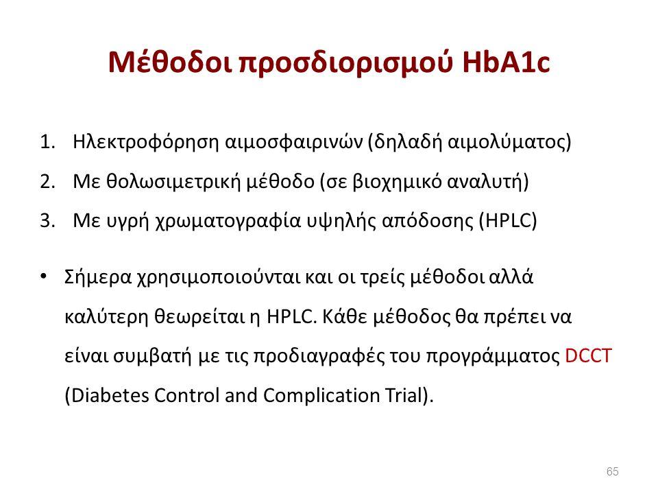 Mέθοδοι προσδιορισμού HbA1c 1.Hλεκτροφόρηση αιμοσφαιρινών (δηλαδή αιμολύματος) 2.Με θολωσιμετρική μέθοδο (σε βιοχημικό αναλυτή) 3.Με υγρή χρωματογραφία υψηλής απόδοσης (HPLC) Σήμερα χρησιμοποιούνται και οι τρείς μέθοδοι αλλά καλύτερη θεωρείται η HPLC.