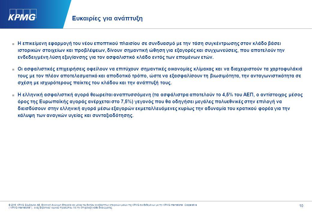 10 © 2015 KPMG Σύμβουλοι ΑΕ, Ελληνική Ανώνυμη Εταιρεία και μέλος του δικτύου ανεξάρτητων εταιρειών-μελών της KPMG συνδεδεμένων με την KPMG Internation