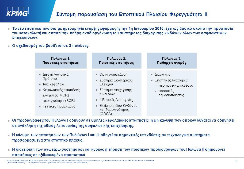 3 © 2015 KPMG Σύμβουλοι ΑΕ, Ελληνική Ανώνυμη Εταιρεία και μέλος του δικτύου ανεξάρτητων εταιρειών-μελών της KPMG συνδεδεμένων με την KPMG International Cooperative ( KPMG International ), ενός Ελβετικού νομικού προσώπου.
