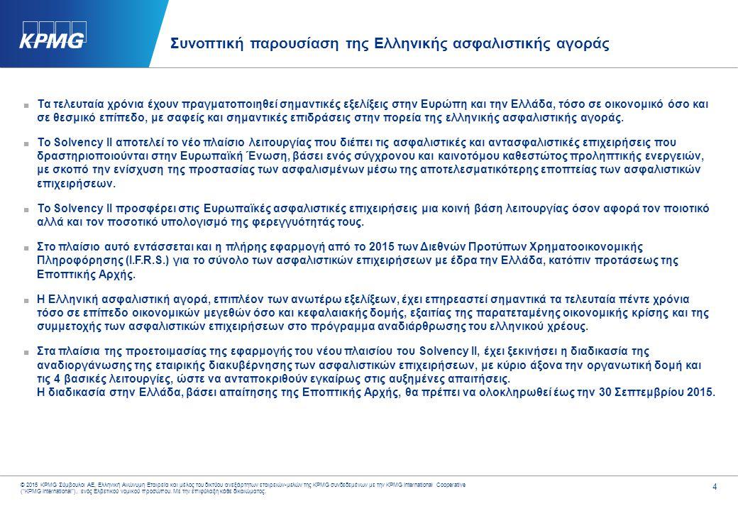 4 © 2015 KPMG Σύμβουλοι ΑΕ, Ελληνική Ανώνυμη Εταιρεία και μέλος του δικτύου ανεξάρτητων εταιρειών-μελών της KPMG συνδεδεμένων με την KPMG Internationa