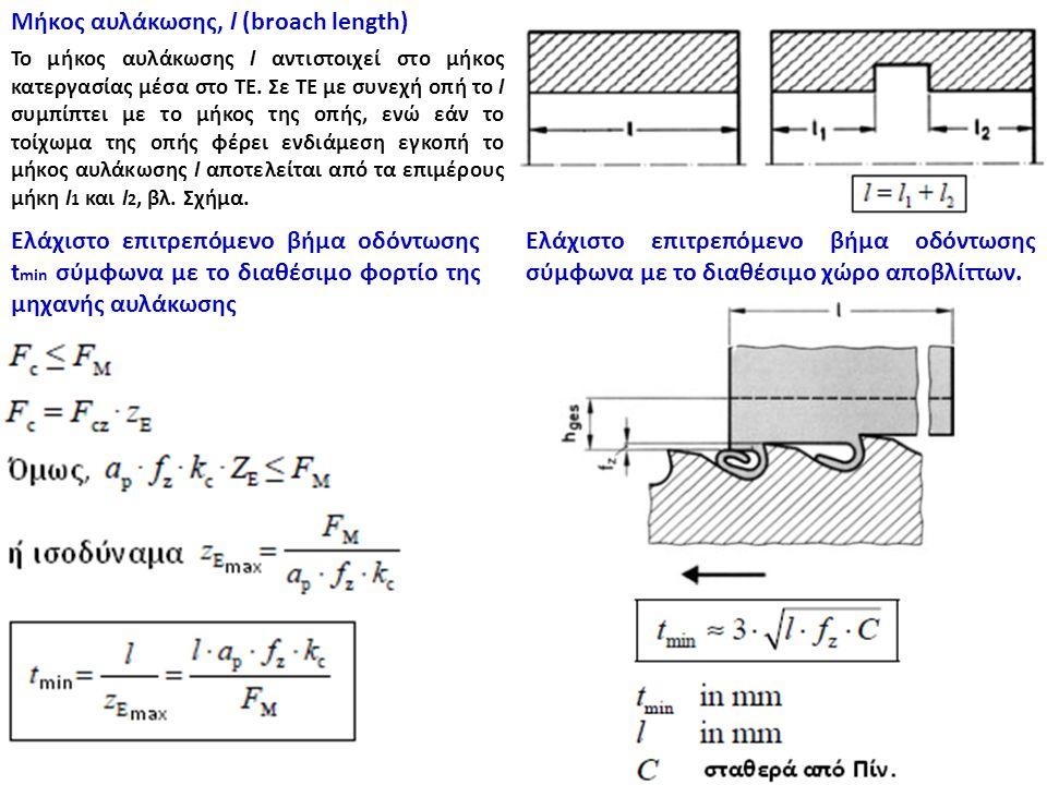 Μήκος αυλάκωσης, l (broach length) To μήκος αυλάκωσης l αντιστοιχεί στο μήκος κατεργασίας μέσα στο ΤΕ. Σε ΤΕ με συνεχή οπή το l συμπίπτει με το μήκος