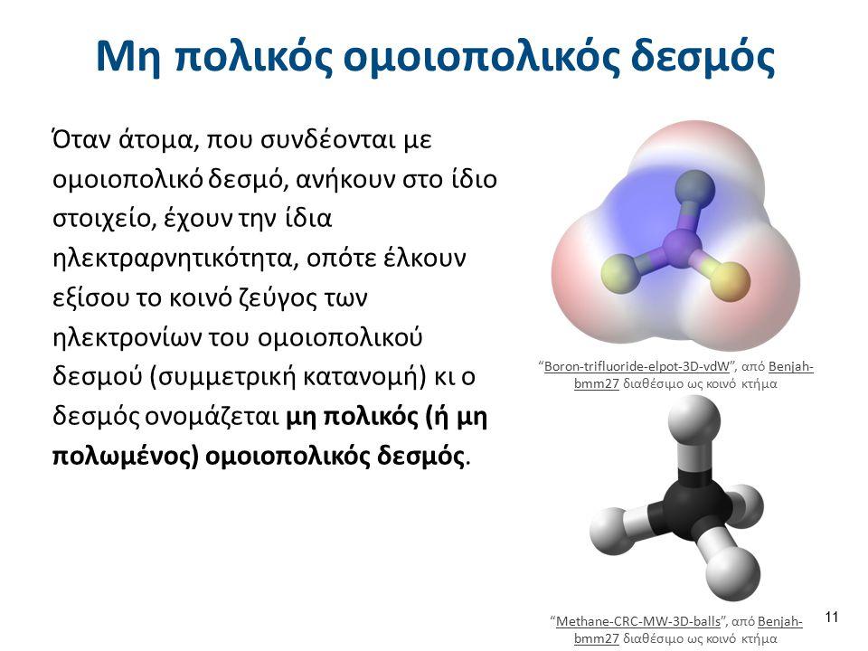 Μη πολικός ομοιοπολικός δεσμός Όταν άτομα, που συνδέονται με ομοιοπολικό δεσμό, ανήκουν στο ίδιο στοιχείο, έχουν την ίδια ηλεκτραρνητικότητα, οπότε έλκουν εξίσου το κοινό ζεύγος των ηλεκτρονίων του ομοιοπολικού δεσμού (συμμετρική κατανομή) κι ο δεσμός ονομάζεται μη πολικός (ή μη πολωμένος) ομοιοπολικός δεσμός.