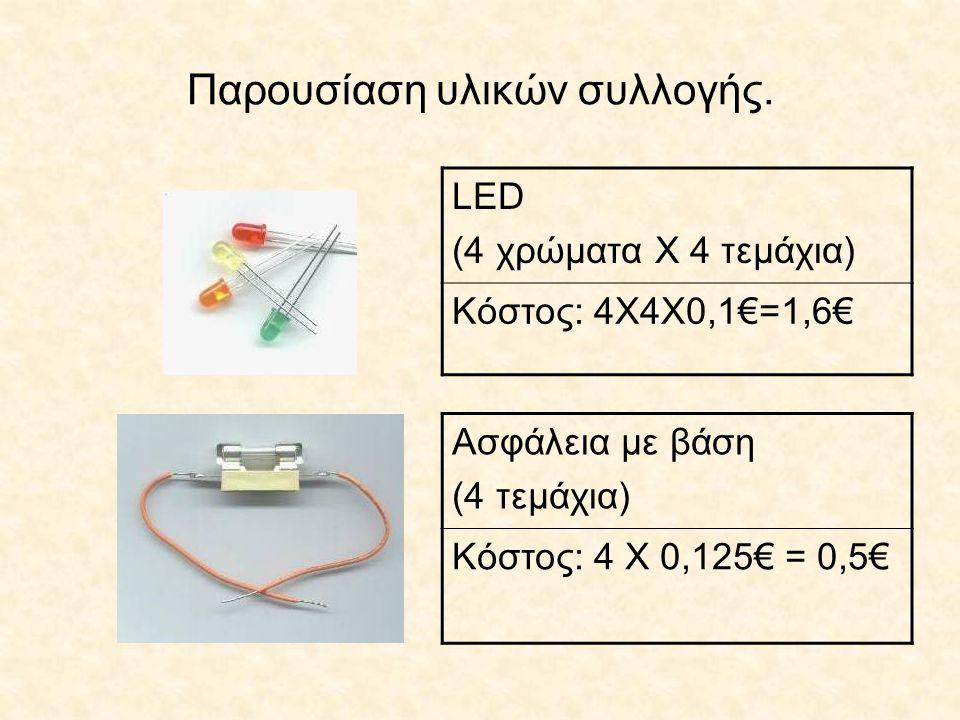 Παρουσίαση υλικών συλλογής. LED (4 χρώματα Χ 4 τεμάχια) Κόστος: 4Χ4Χ0,1€=1,6€ Ασφάλεια με βάση (4 τεμάχια) Κόστος: 4 Χ 0,125€ = 0,5€