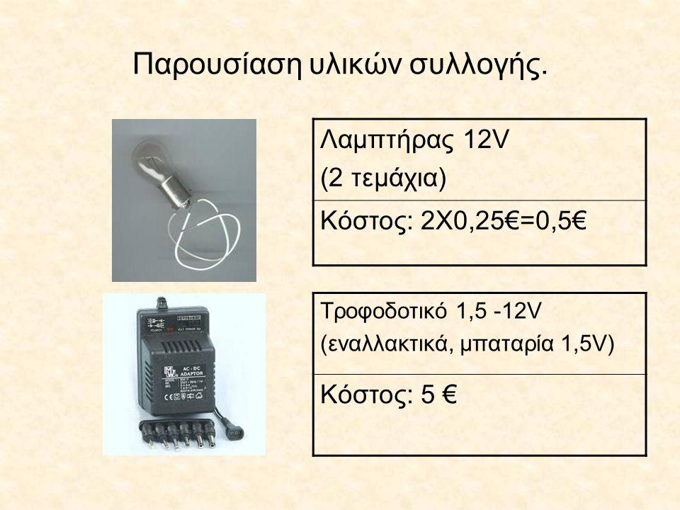 Παρουσίαση υλικών συλλογής. Λαμπτήρας 12V (2 τεμάχια) Κόστος: 2Χ0,25€=0,5€ Τροφοδοτικό 1,5 -12V (εναλλακτικά, μπαταρία 1,5V) Κόστος: 5 €