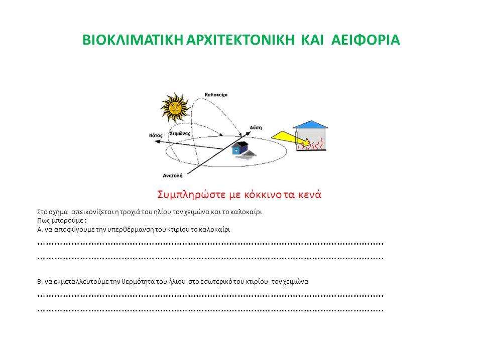 ΒΙΟΚΛΙΜΑΤΙΚΗ ΑΡΧΙΤΕΚΤΟΝΙΚΗ ΚΑΙ ΑΕΙΦΟΡΙΑ Στο σχήμα απεικονίζεται η τροχιά του ηλίου τον χειμώνα και το καλοκαίρι Πως μπορούμε : Α. να αποφύγουμε την υπ